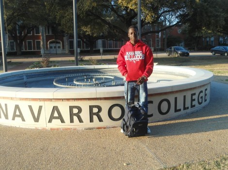 Afefe in front of Navarro College